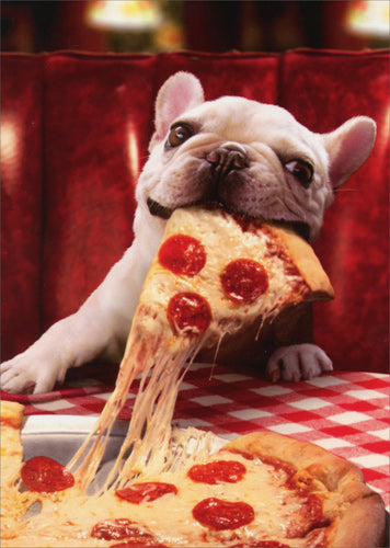 Avanti Press Dog with Cheese Pizza Slice Card