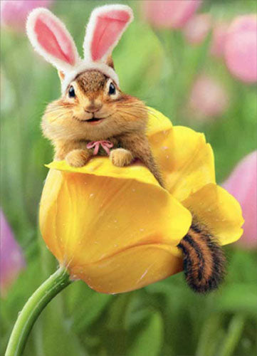 Avanti Press Chipmunk Bunny In Tulip Card