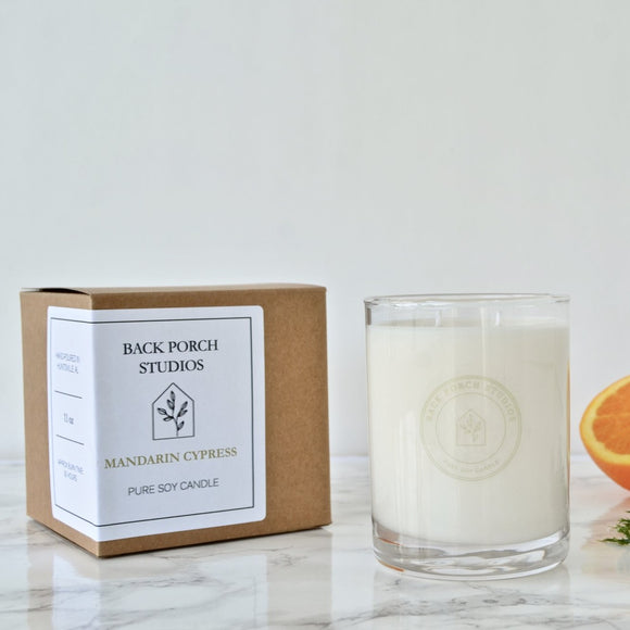 Back Porch Studios Mandarin & Cypress 11oz  Glass w/Box Candle