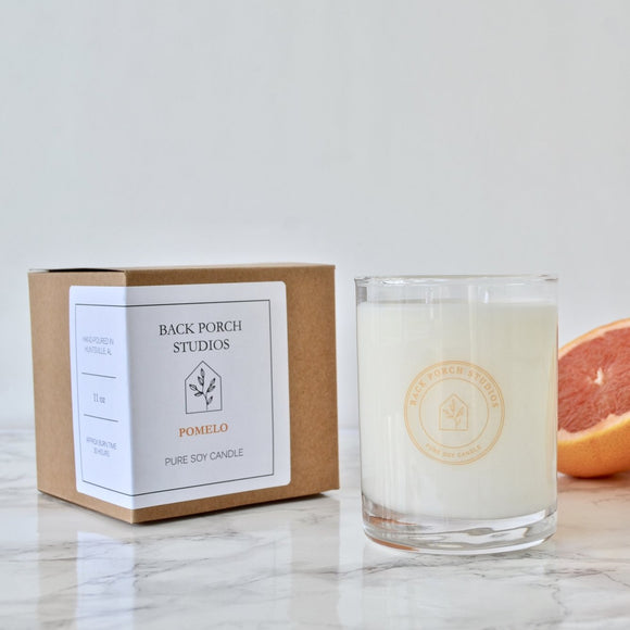 Back Porch Studios Pomelo 11oz glass w/box Candle