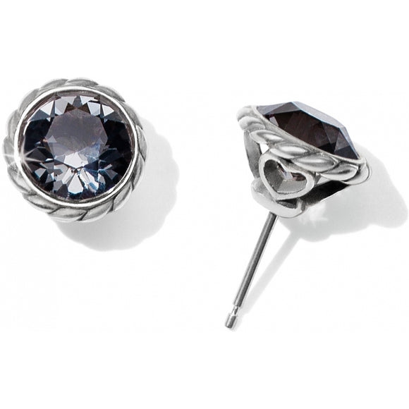 Brighton Iris Stud Earrings - Silver-Black