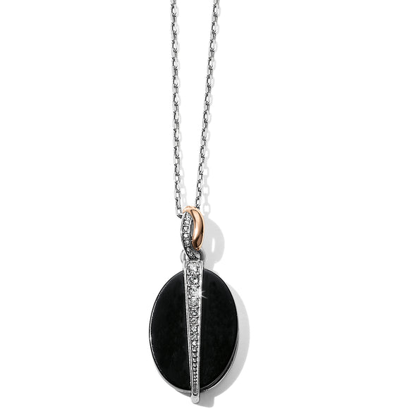 Brighton Neptune's Rings Oval Black Agate Reversible Necklace
