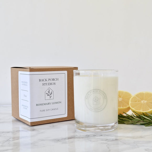Back Porch Studios Rosemary & Lemon 11oz glass w/box Candle