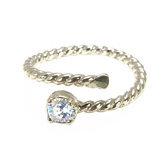 Earth Grace Apr-Diamond Stackable Wrap Ring