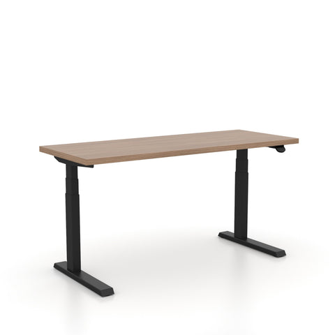 "Haworth Upside Sit-to-Stand - 29"" x 46"" - Neo walnut top with black base"