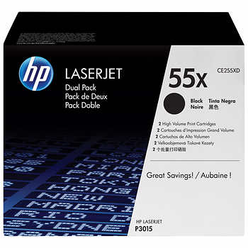 HP 55X (CE255XD) Black High Yield 2-pack Original LaserJet Toner Cartridges (25000 Yield)