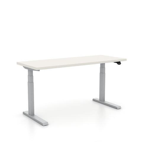 "Haworth Upside Sit-to-Stand - 29"" x 58"" - White top with metallic silver base"