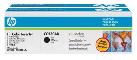 HP 304A (CC530AD) Black 2-pack Original LaserJet Toner Cartridges (2 x 3500 Yield)