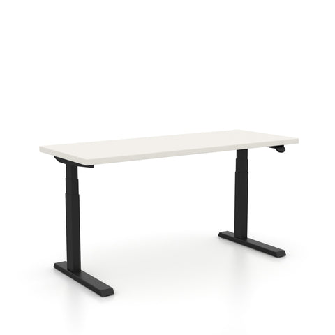 "Haworth Upside Sit-to-Stand - 29"" x 58"" - White Top with Black Base"