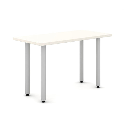 "Haworth Jive Table - 30"" x 60"" - White top with metallic silver base"