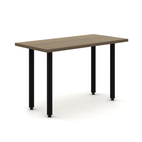 "Haworth Jive Table - 24"" x 48"" - Neo walnut top with black base"