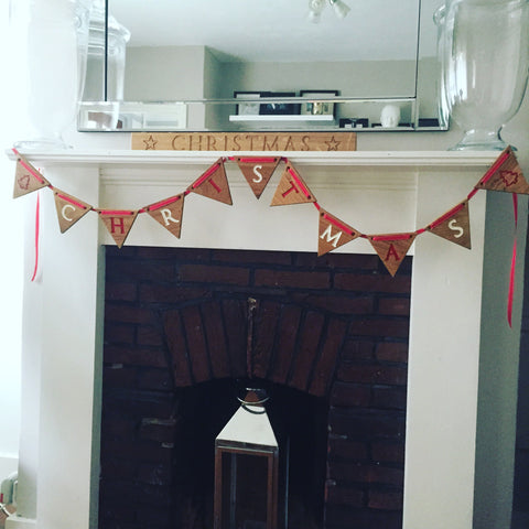 Merry Christmas Engraved Oak Bunting