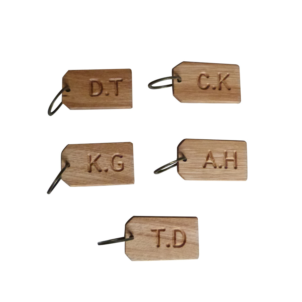 50 Personalised Oak Initial Keyrings - Wedding Favours