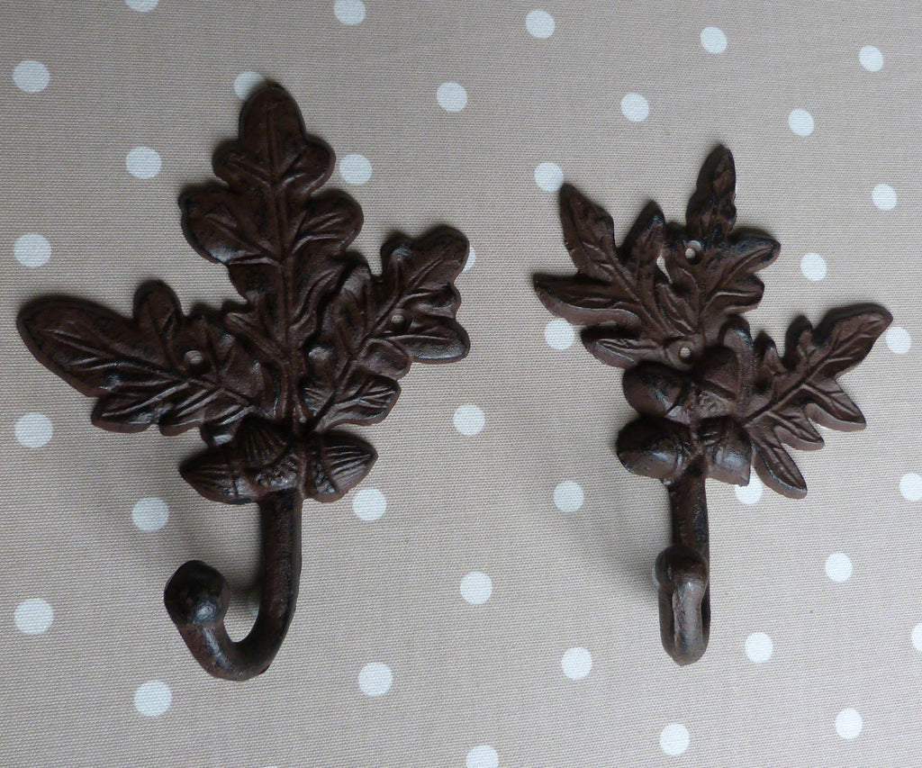Large Cast Iron Coat Hook - Rustic Oak Leaf Peg