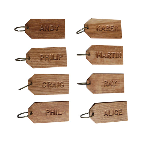 10 x Wedding Favour Place Names - Personalised Oak Keyrings
