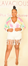 Load image into Gallery viewer, Plus Size Unicorn Colored Denim Jacket