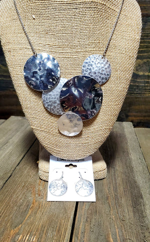 Hammered Bib Necklace & Earring Set