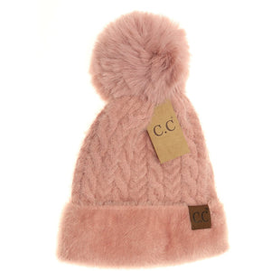 CC Beanie Cable Knit Faux Fur Pom and Cuff Beanie