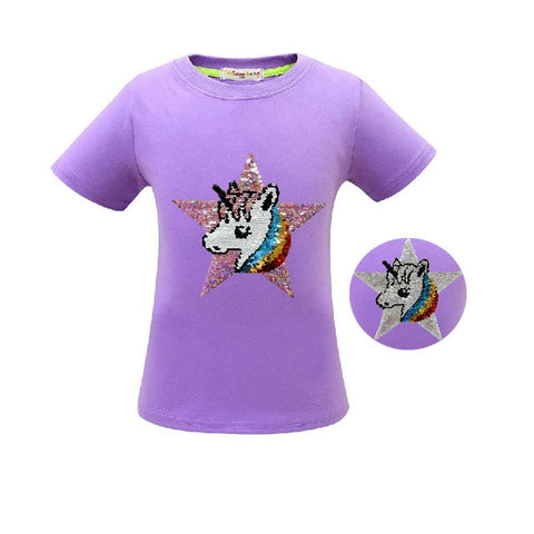 Purple Star Unicorn Tee Shirt