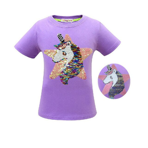 Purple Unicorn Glitter  Tee Shirt