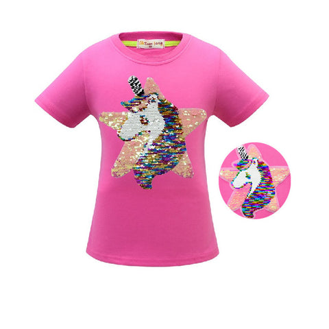 Glitter Unicorn Star Tee Shirt