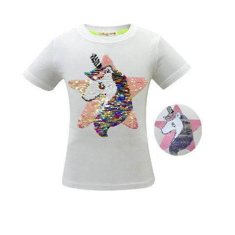 White Unicorn Star Tee Shirt