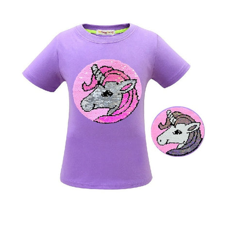 Purple Glitter Unicorn Tee Shirt