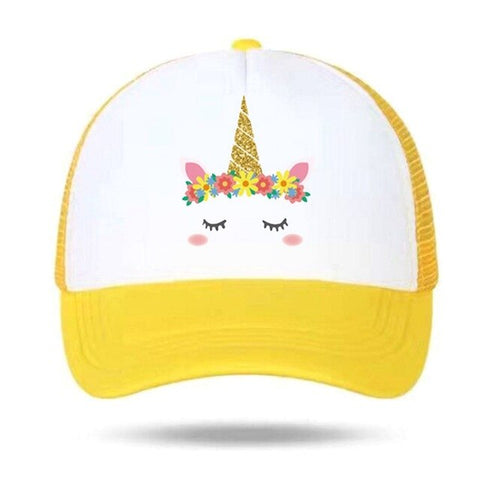 Flowers Unicorn Caps Yellow