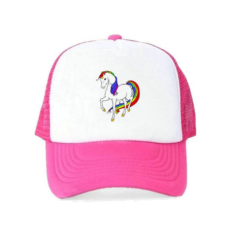 Rainbow Pink Girl Unicorn Caps