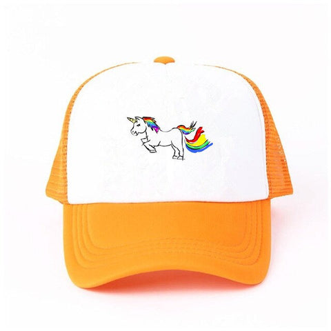 Orange Baseball Unicorn Caps