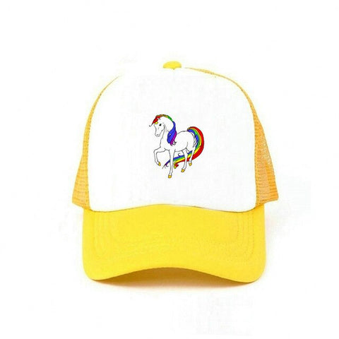 Yellow Rainbow Women's Unicorn Caps