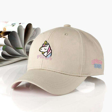 Adjustable Unicorn Caps Beige