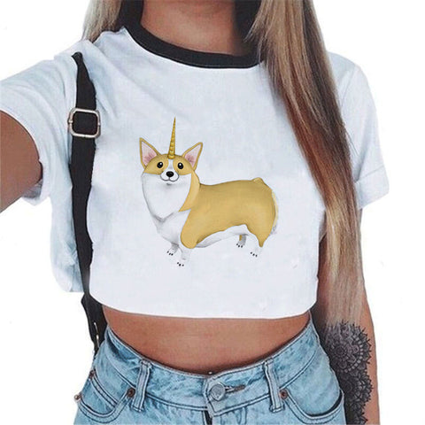Dog Unicorn Crop Top