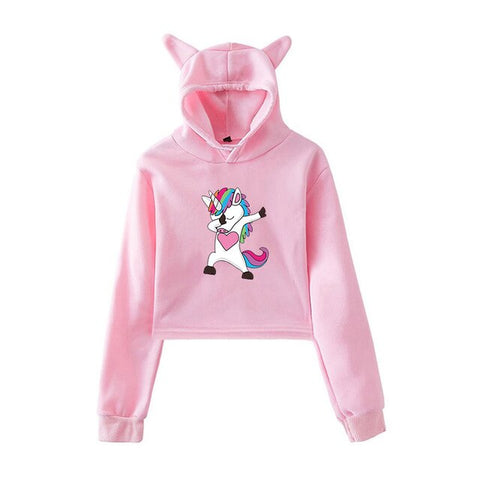 Pink Cute Dab Hoodies Unicorn