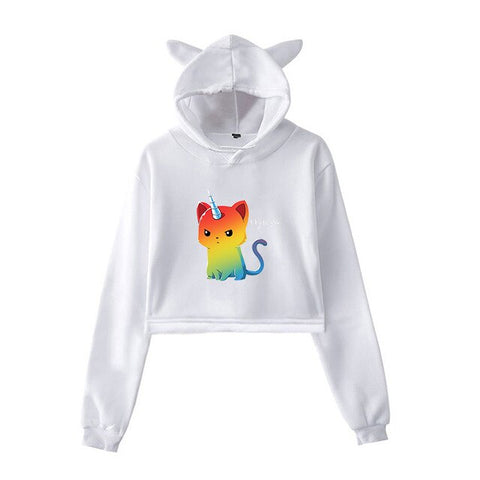 White Cat Hoodies Unicorn