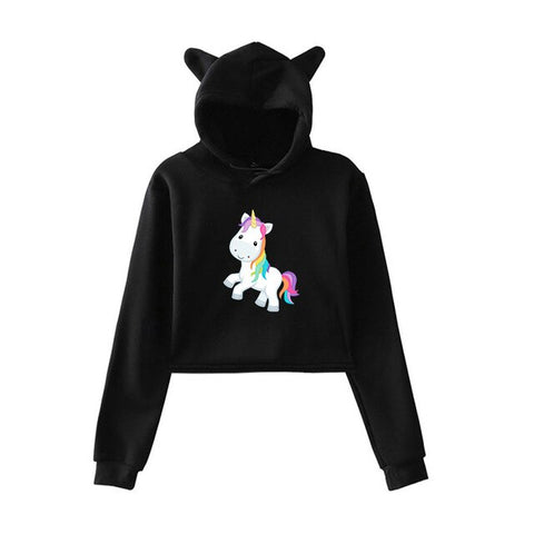 Black Cute Hoodies Unicorn