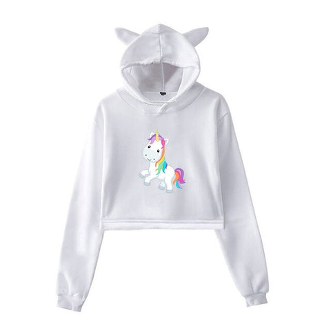 White Cute Hoodies Unicorn