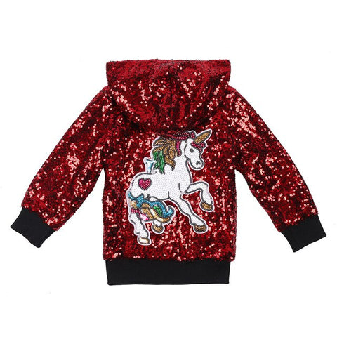 Red Glitter Unicorn Jacket