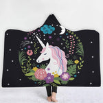 Black Drawing Unicorn Poncho