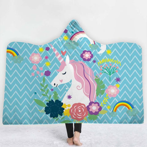 Blue Rainbow Unicorn Poncho