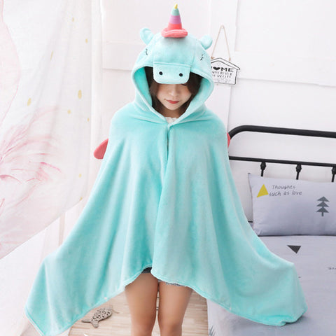 Blue Kawaii Unicorn Poncho