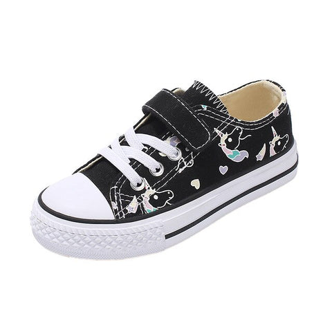 Black Unicorn Velcro Girl Shoes