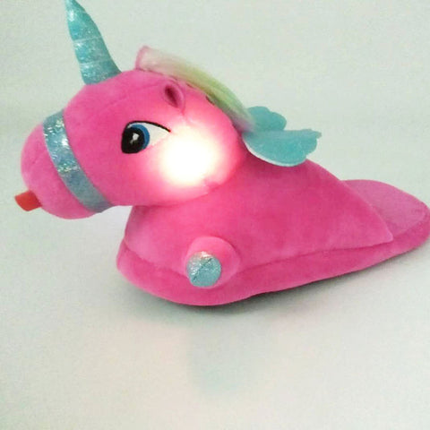 Pink Luminous Unicorn Slippers Wommens