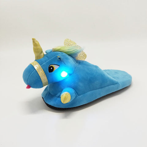 Blue Luminous Unicorn Slippers