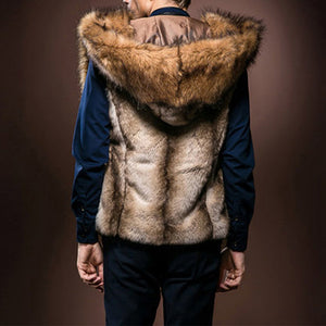 Men Stylish Faux Fur Sleeveless Hoodie Vest Coat Warm Winter Slim Jacket Outwear