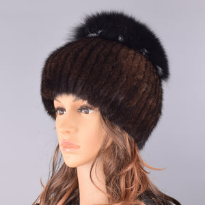 mink fur hats for women winter natural fox fur pompom furry warm cap fashionable fluffy genuine real fur girls knitted caps