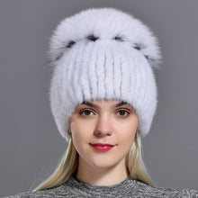 Load image into Gallery viewer, mink fur hats for women winter natural fox fur pompom furry warm cap fashionable fluffy genuine real fur girls knitted caps