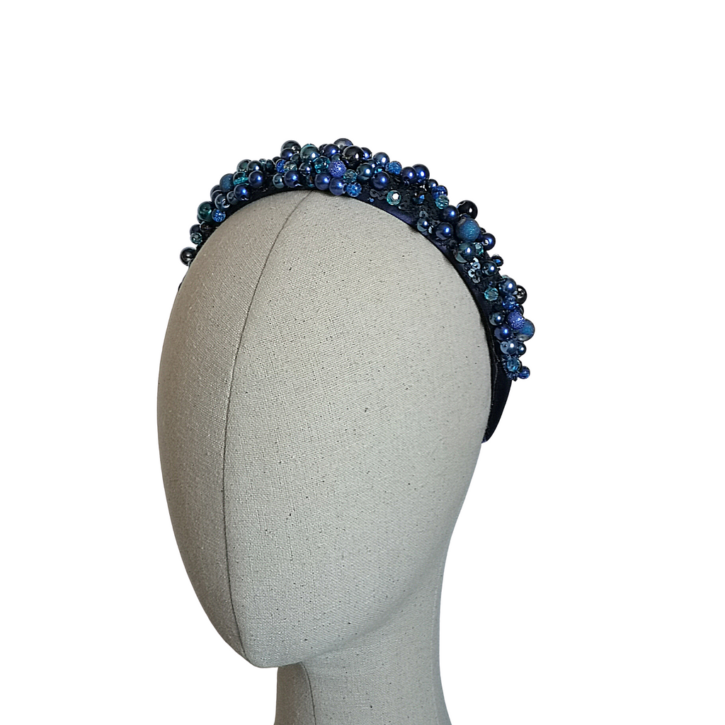 Beaded Navy Hairband