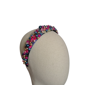 Pink and Navy Beaded Hairband
