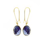 Load image into Gallery viewer, Vintage Looking Glass Earrings in Blue